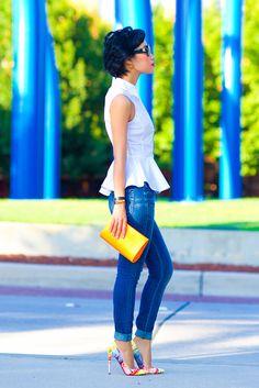 Peplum, skinnies, bright pointy heels