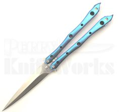 Perry Knife Works - Kyle Vallotton Custom Stinger Dark Blue Butterfly Knife (Satin), $435.00 (http://www.perryknifeworks.com/kyle-vallotton-custom-stinger-dark-blue-butterfly-knife-satin/)