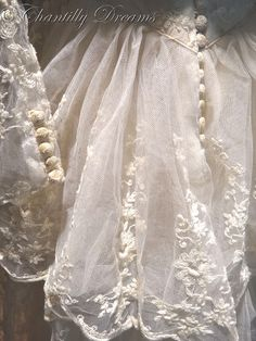 Detail of antique French lace gown, circa 1900.