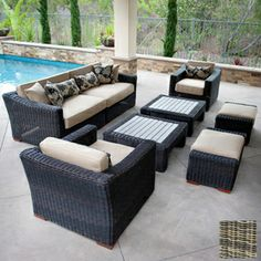 RST Outdoor�8-Piece Resort Gray Aluminum Patio Conversation Set with Solid Brown Cushions