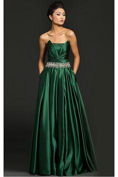 Fancy Dark Green Princess Backless Satin Evening Dresses