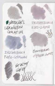 "J. Herbin's ""Stormy Grey"" vs Noodler's ""Lexington Gray"", Pilot Iroshizuku's ""Kiri-Same"" and ""Fuyu-Syogun"" and Montblanc's ""Oyster Grey""."