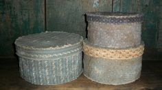 Primitive Blue Pantry Boxes by countrypresence on Etsy