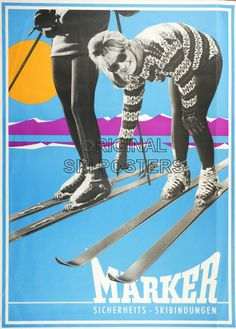 vintage ski advertising poster - Marker bindings 60's
