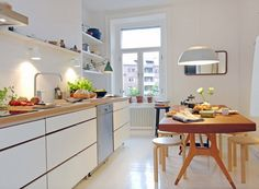white floors in kitchen