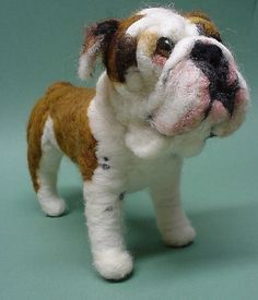 Needle Felted Wool English Bulldog by Amelia Santiago