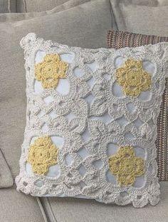 Receita Capa de Almofada Marguerite Crochê Mais