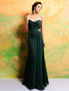 Sheath/Column+Sweetheart+Chiffon+Dark+Green+Bridesmaid+Dress+With+Beading+#AUSA0252083