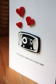 retro cassette and hearts quilling cards Quilling Paper Craft, Quilling Cards, Paper Crafts, Quilling Ideas, Diy Crafts, Tapas, Origami, Cute Cards, Mixtape