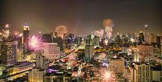 Bangkok New Year's Eve Fireworks Timelapse HDR