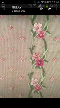 Lovely floral/roses cross stitch embroidered tablecloth in white linen from Sweden Cross Stitch Borders, Cross Stitch Rose, Modern Cross Stitch, Cross Stitch Flowers, Cross Stitch Designs, Cross Stitching, Cross Stitch Embroidery, Hand Embroidery, Cross Stitch Patterns