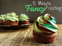 5 Minute Fancy Frosting-perfect with camo cupcakes! Canned Frosting, Homemade Frosting, Frosting Tips, Cupcake Frosting, Cake Icing, Frosting Recipes, Cupcake Cookies, Cupcake Recipes, Dessert Recipes