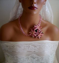 Bridal Turkish Oya needle lace light pink by AnatolianWedding, $55.00