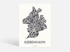 POSTER KØBENHAVN - KORTKARTELLET - DARK GREY - 50X70