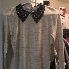 🌟PRICE DROP🌟 Lace Collar Sweater Light Gray with a beautiful Black Lace Collar. New with Tags and extra hook closure. Sized Medium but fits small. Tops