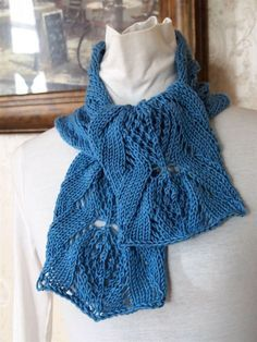 Knitting pattern for Dahlia lace scarf - can be knit long or short on Etsy (affiliate link) tba