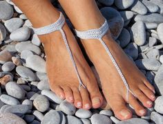 Silver Crochet Barefoot Sandals -Wedding Favors from SHORE THINGS by DaWanda.com