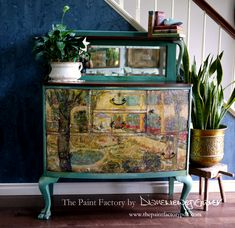 Finished the commissioned piece! Van Gogh The Asylum Garden at Arles. Wise Owl Paint in Relic, Tourmaline, beeswax,… Hand Painted Furniture, Paint Furniture, Furniture Styles, Furniture Ideas, Antique Secretary Desks, American Paint, Buffet Cabinet, Wise Owl, Diy Recycle