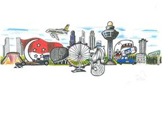 Singapore National Day, Doodle 4 Google, Singapore Art, Travel Icon, Instagram Highlight Icons, Portrait Art, Diy Art, Competition, Doodles