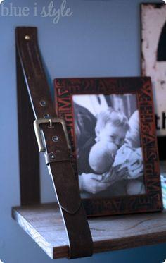 CB2 inspired leather belt shelves