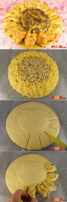 обалдено красивый пирог с мясом и сыром 'Подсолнух'.