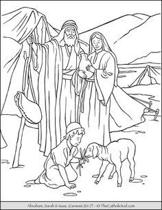 Abraham, Sarah, and Isaac Coloring Page.