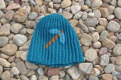 Diamond pickaxe-Minecraft inspired crochet hat by Unique2who on Etsy.com