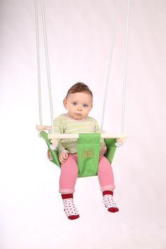 Items similar to Baby swing chair, Green kids fabric swing, Beautiful nursery decor on Etsy Indoor Swing, Hammock Swing, Kids Swing, Baby Swings, Baby Kids, Cotton Fabric, Trending Outfits, Handmade Gifts, Green