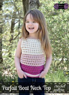 Parfait Boat Neck Top crochet pattern by Blackstone Designs - Child sizes 2T - 12Y