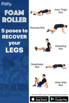 Foam Rolling for Legs & Butt - Foam Rolling session to massage and release all important muscles of your legs, butt and lowerbody - Yoga Fitness, Fitness Workouts, Physical Fitness, Fitness Motivation, Foam Roller Stretches, Stretching Exercises, Torn Meniscus Exercises, Hamstring Exercises, Yoga Foam Roller