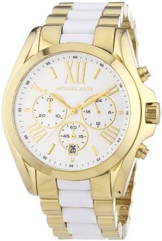 Michael Kors Women's Bradshaw Chronograph Two-Tone Stainless steel and Acetate Watch Michael Kors Chronograph Watch, Michael Kors Watch, Brand Name Watches, Expensive Watches, Jewelry Showcases, Beautiful Watches, Gold Watch, Watch Bands, Watches For Men