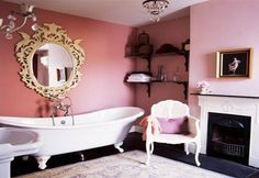 Baroque bathroom with pink and gold accents :-)