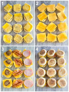 Assembly process photos for freezer breakfast sandwiches starting with egg on an english muffin, topped with cheese, meat and the top english muffin. Now You Can Have A Safe Health With These Healthy Breakfast Ideas And Recipes. Make Ahead Breakfast Sandwich, Breakfast Dishes, Breakfast Recipes, Yummy Breakfast Ideas, Healthy Breakfast On The Go, Eggs For Breakfast Sandwiches, Frozen Breakfast Burritos, Sausage Breakfast Sandwich, Easy Camping Breakfast