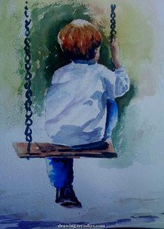 Watercolor Art Ideas Sad New Ideas Swing Painting, Painting & Drawing, Watercolor Pictures, Watercolor Portraits, Watercolor Illustration, Watercolor Art, Arte Van Gogh, Sad Drawings, Painting People