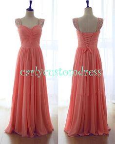 Long Coral Prom Dress/Beaded Bridesmaid Dress/Peach Red Grey Chiffon Evening Dress/Homecoming Dress/Graduation Dress/Formal Dress