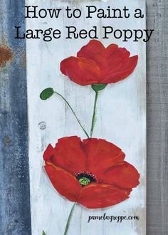 Learn how to paint a large red poppy. Easy, beginner friendly painting lesson for poppy flowers. Paint larger than life with easy and you can paint DIY signs, canvas paintings and on rustic wood…More Acrylic Painting Techniques, Painting Lessons, Art Lessons, Poppy Flower Painting, Flower Art, Poppies Painting, Paintings Of Flowers, Simple Oil Painting, Diy Painting