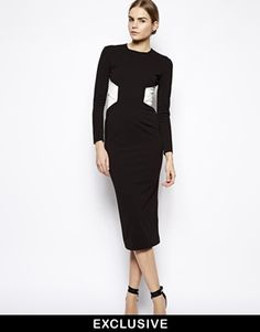 Solace London Jazz Cut Out Midi Dress in Contrast