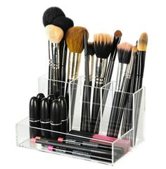 "Our Lucite Brush Holder stores your smaller items, such as brushes, eye liners, and mascaras. DIMENSIONS: 7.5"" W x 4.5"" D x 4"" H THREE COMPARTMENTS MATERIAL: Lucite Acrylic"