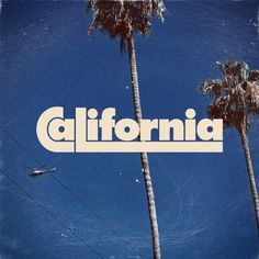 The palm trees are obviously something that we often associate with California. However, the typeface also has kind of a vibe, which we tend to associate with hipsters. So, it makes sense to use this typeface to help associate the image with California. Typography Letters, Typography Design, Retro Typography, Summer Typography, Retro Font, Type Design, Logo Design, Typographie Fonts, Typographie Inspiration