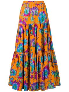 Orange cotton long printed skirt from La Doublej featuring an elasticated waistband and an all-over print. Look Fashion, Fashion Outfits, Fashion Design, Fashion Trends, Mode Wax, Modest Dresses, Neue Trends, Size Clothing, Floral Prints