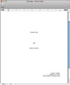 At 04:20hrs This Morning Kevin Smith Started Writing Clerks III