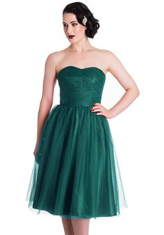 Special Occasion Dress A classic old Hollywood glamour! Strapless tulle tea-length dress in vintage pine green. Bust pads. Back zipper. 100% polyester Not stretchy Lined Shop Cute Dresses and Clothing - Canada Finest Jade Dress -