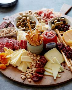 Use a cutting board for a cheese display