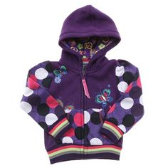 Purple Hoodie With Hot Pink/Blk/White Spot Print And Butterflies.  Purple/Grey/Green/Pink Cuffs/Ribb $19.00 on Ozsale.com.au