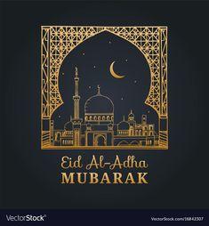 Eid al-adha mubarak calligraphic inscription vector image on VectorStock Eid Al Adha Wishes, Eid Mubarak Wishes Images, Eid Al Adha Greetings, Eid Ul Adha Images, Eid Adha Mubarak, Eid Mubarak Card, Eid Mubarak Wallpaper, Eid Mubarak Stickers, Muslim Eid