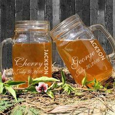 450ml Wedding Mason Jars Custom Name and Dates Personalized