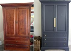 My Armoire Makeover: Painting It Navy - Emily A. Clark- My Armoire Makeover: Painting It Navy – Emily A. Clark painting a traditional cherry armoire in /benjamin_moore/ Hale Navy - Armoire Makeover, Bedroom Furniture Makeover, Wardrobe Makeover, Painted Bedroom Furniture, Refurbished Furniture, Repurposed Furniture, Rustic Furniture, Antique Furniture, Painted Armoire