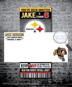 12 per pack birthday party invitations card pittsburgh steelers pittsburg steelers football birthday party invitations filmwisefo Gallery