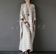 Hot Ladies Cotton Blens Full Length Loose Womens Round Collars Dress Size