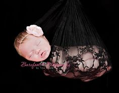Black Floral Lace Stretch Wrap - Newborns Baby Girls Fabric Maternity Photo Props Vintage - Ready to Ship. $10.00, via Etsy.